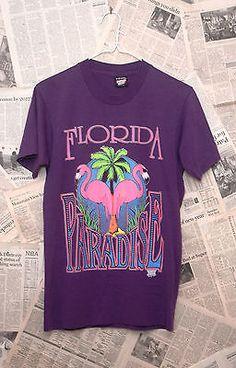 Vintage-90s-Florida-Paradise-Pink-Flamengos-Palm-Trees-50-50-Sz-M-T-Shirt-USA