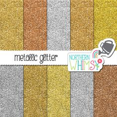Metallic Glitter Digital Paper – gold, silver, bronze, and copper glitter sheets – glitter paper -  printable paper- commercial use