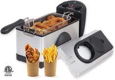 Gourmia Electric Restaurant Deep Fryer With Dual Temperature and Timer Dials - 3 Quart - Stainless Steel - 1500 Watts - Fry 2 lbs. of Food - Includes E-Recipe Book - Indoor Electric Grill, Electric Deep Fryer, Electric Grills, Portable Charcoal Grill, Best Charcoal Grill, Best Appliances, Specialty Appliances, Turkey Deep Fryer, Best Deep Fryer
