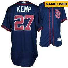 MLB Matt Kemp San Diego Padres Fanatics Authentic Game-Used Blue #27 Fourth of July Stars and Stripes Jersey vs Arizona Diamondbacks on July 4, 2016