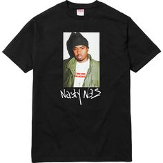 Supreme Nas Tee ❤ liked on Polyvore featuring tops, t-shirts, shirts, tee-shirt, shirt top and t shirts