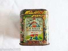 1900s Eisler Vienna early  tea sample tin very decorative item!