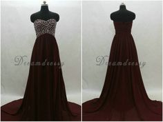 Long burgundy prom dress  Sweetheart beading prom by DreamDressy, $130.99