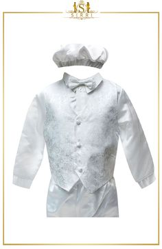 A super sweet christening outfit that has all you need for your little one. It comes as a complete five piece set that includes a waistcoat, shirt, bow tie, trousers and a little hat to finish it off. A cute set that has all you need for your special day.  Shop now at SIRRI kids #suits for boys for #wedding #communion online...Elegant fashion for children and men. #fashion #shopping