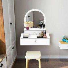 Teresa Wall Mount Vanity with Mirror White Vanity Mirror, Small Vanity, Floating Vanity, Small Bedroom Vanity, Bedroom Makeup Vanity, Bathroom Vanity Base, Closet Vanity, Vanity Shelves, Vanity Desk