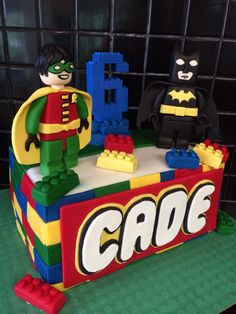 Batman and Robin lego cake