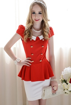 Wholesale Trendy & Sweet Mixed Colors Doll Collar Double-breasted Pleated Dress----Red top dresses