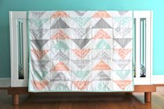 flying geese quilt blush mint and gray READY TO SHIP by iviebaby, $260.00