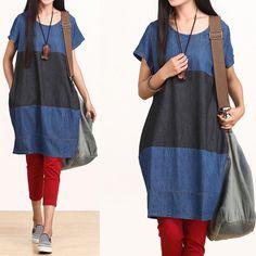Blue denim dress fashion stitching / loose cotton by dreamyil, $108.00