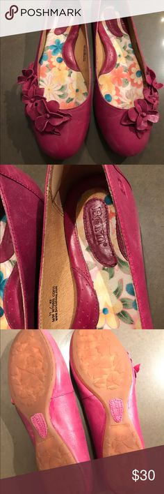 Born Sz 11 Pink Flower leather flats shoes Born genuine leather flats. Pink with floral detail. Women's size 11, in excellent barely worn condition. Born Shoes Flats & Loafers