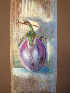 Eggplant dry pastel 60 x 50 cm Marie-France OOSTERHOF