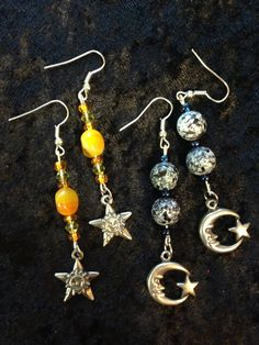 Sun and Moon Earring Set by CraftyOlBats on Etsy