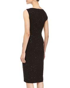 Asymmetrical Beaded Dress, Black