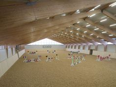 Indoor riding arena at Evago Equestrian Center Indoor Arena, Indoor Outdoor, Horse Walker, Riding Lessons, Window View, Stables, Croatia, Equestrian, Barns
