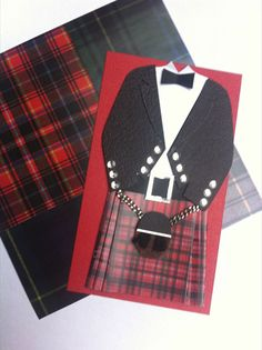 Scottish Kilt outfit card topper by Comiro on Etsy