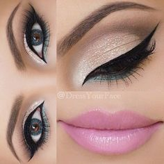 Gold Shimmer + Winged Eyeliner + Hint of Mint + Pretty Pink Lip. with Blue Colored Contact Lenses. I Pretty Pink Lipstick Makeup Ideas for Lovely Women Pink Lipstick Makeup, Kiss Makeup, Cute Makeup, Gorgeous Makeup, Pretty Makeup, Hair Makeup, Pink Eyeliner, Perfect Makeup, Makeup Eyeshadow