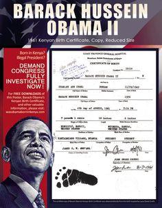 Barack Hussein Obama 1961 Kenyan Birth Certificate. Copy. Reduced Size. http://wasobamaborninkenya.com/