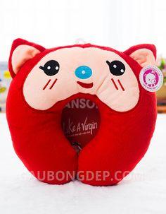 Gối chữ U cáo Ali màu đỏ nổi bật với khuôn mặt dễ thương vui vẻ | Gấu Bông Đẹp