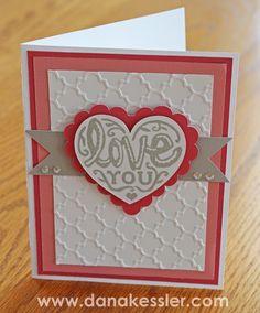 Love You Valentines Card CTMH Quatrefoil Embossing Folder Artiste cricut #ctmh #cricut #cards
