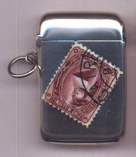"Victorian Silver And Enamel ""Stamp"" Vesta Case - Daniel Bexfield Antiques."