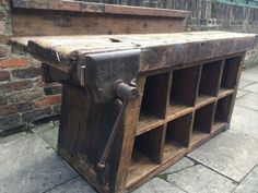 Vintage antique industrial pigeon holes and workbench storage unit Steel Workbench, Industrial Workbench, Woodworking Workbench, Vintage Bench, Vintage Wood, Metal Work Table, Benches For Sale, Work Benches, How To Clean Furniture