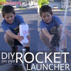 DIY PVC Pipe Rocket Launcher. With basic supplies from the hardware store, a bike pump or air compressor, and a few empty plastical bottles, you can keep your kids happy for hours launching rockets 40 or 50 feet into the air. http://hative.com/fun-and-creative-diy-pvc-pipe-projects/