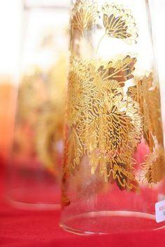 gilded glasswear. center piece