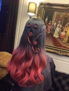 lovely roses in the hair