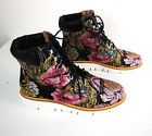 Shellys London Sz High Top LeatherTapestry Floral Lace Up Shoe Pink Gold Blk Runners High, Platform Boots, Lace Up Shoes, High Boots, Black Backgrounds, Floral Lace, Pink And Gold, Sneakers Fashion, Combat Boots