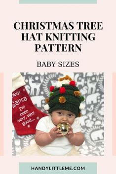 Baby Christmas Tree Hat Knitting Pattern Free. Grab this free knitting pattern and make a festive holiday hat for baby! #Christmastreehat #knitting #knittingpattern #Christmasknits #babyknitting #holidayknits Free Knitting Patterns For Women, Beginner Knitting Patterns, Christmas Knitting Patterns, Knitting For Kids, Knitting For Beginners, Baby Knitting, Christmas Tree Hat, Christmas Baby, Christmas Crafts