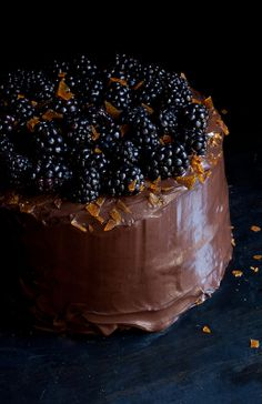 Chocolate Layer Cake With Blackberries.