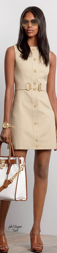 Michael Kors ~ Sleeveless Beige Front Button Mini Dress, Fall 2015