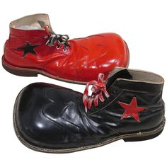 Red and Black Clown Shoes | From a unique collection of antique and modern carnival art at https://www.1stdibs.com/furniture/folk-art/carnival-art/