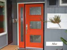 Contemporary Red Entry Door. ThermaTru Smooth Star model Pulse Ari (S2XJ) with sidelight.