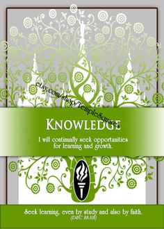"""Printable - 3 sizes! LDS Young Women Personal Progress Values """"Knowledge"""" Art 2014 Instant Download Digital Files"""