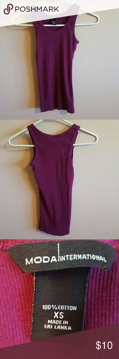 Worn once scoop neck tank top MODA International by Victoria Secret 100% Cotton. Machine wash warm. Tumble dry low. Washed worn once. Plum color ribbed fabric. Moda International Tops Tank Tops