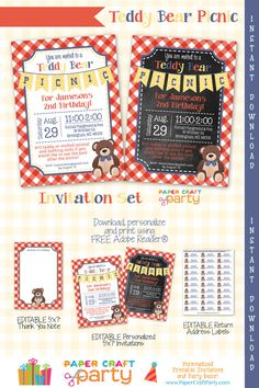 Teddy Bear Picnic Invitation Set  Thank You by PaperCraftParty