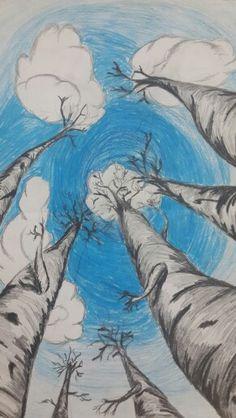 Deze afbeelding past bij het beeldaspect ruimte omdat je de bomen aan de onderkant groot zit en ze worden steeds een stuk kleiner.