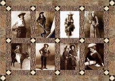 Vintage cowgirl quilt block set based on photographs of old cowgirls from the early 1900's. These old cowgirl quilt blocks come with a free quilt pattern and make a great western quilt.