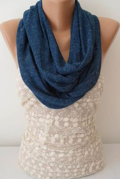 ON SALE Dark Blue Scarf Infinity Scarf Womens by JasmineAccessory, $9.90