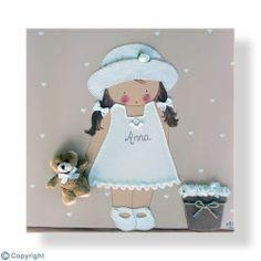 Cuadro infantil personalizado: Niña con sombrero (ref. 12009-03)
