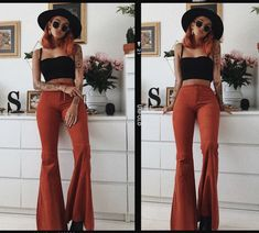 🧡 Up your flare game 🧡 🔍ZURA ribbed frill edge crop top 🔍HENNA corduroy extreme flared trousers 70s Outfits, Hippie Outfits, Mode Outfits, Cute Casual Outfits, Fall Outfits, Summer Outfits, Fashion Outfits, Country Outfits, 70s Inspired Fashion