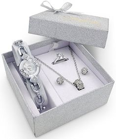 Silver Watch Jewelry Gift Set Woman Girlfriend Ladies Female Wife Mum Sister Her Birthday -- Details can be found by clicking on the image. Christmas Gifts For Women, Birthday Gifts For Women, Christmas Presents For Girlfriend, Gift Sets For Her, Glitter Gifts, Bridal Jewelry Sets, Lady, Jewelry Gifts, Jewellery