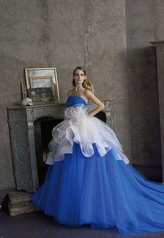 """Collezione Signature 2014 - Elisabetta Polignano: un abito colorato che sembra voglia dire """"Quel giorno sarò Unica e Semplicemente Indimenticabile""""! #wedding #weddingdress #weddinggown #blu #abitodasposa"""