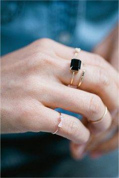 Black equilibrium cuff ring