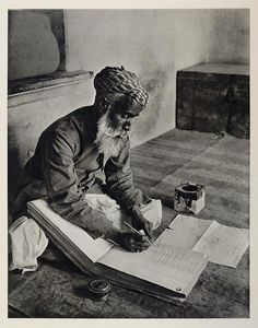 Indian street banker making notes in Urdu in a ledger book, Udaipur, 1928 Old Pictures, Old Photos, Vintage Photos, Indian Pictures, History Of Photography, Street Photography, Vintage Photography, Colonial India, Udaipur India
