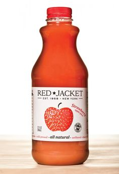 By featuring a large apple on the front of its bottle, Red Jacket Juices showcases the origins of its product, the Red Jacket Orchard, to reflect the all-natural flavor of the juice.