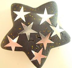 Firework Playdough - silver/gold/white sparkles, stars, pompoms, ribbon, pipercleaners