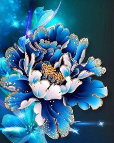 Gift Diamond Mosaic Diy Diamond Painting Peony Flower Pictures Diamond Embroidery Wall Sticker Home Decor Canvas Flores 44 Peony Flower, Flower Art, Floral Flowers, Beaded Flowers, Blue Flowers, 5d Diamond Painting, Fabric Painting, Painting Tools, Blue Peonies