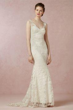 Elegant 2014 Free Shipping Vestidos de Noivas Ivory Lace Mermaid Bridal Gowns Wedding Dresses Online $181.37
